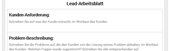 Value Selling Software in der Leadverwaltung